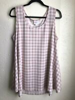 NWOT Women's LuLaRoe Perfect Tank Top Large Gingham Pink White Checked Plaid