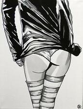 Nude Pop Art Original Oil Painting by Terry P Wylde : Pippa's Long Stockings