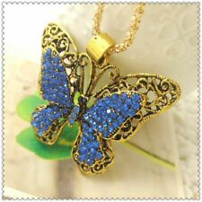 Betsey Johnson Crystal Butterfly Pendant charm Sweater chain necklace gift B