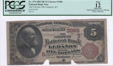 $5 Nat'l Currency 1882BB, FR470, CH3988, Citizens NB, KY, PCGS Fine 12 Apparent