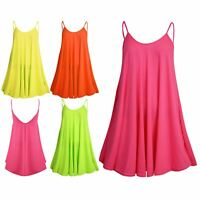 Womens Ladies Plain Strappy Camisole Fluorescent Flared Vest Swing Dress Top