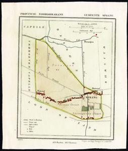 ANTIQUE MAP-NETHERLANDS-SPRANG-NOORD BRABANT-KUYPER-1865