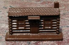 Antique Cast Iron Log Cabin Doorstop Advertising Eureka Range American Legion