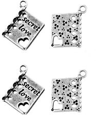 10 x Antique Silver Book Charms LF NF - Valentines Love Heart Diary Charms