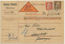"""BAYERN """"MUENCHEN 33."""" K2 Nachnahmekarte m. extrem selt. 13 Pf POSTTARIF, RR!"""