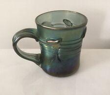Loetz Style Iridescent Art Glass Hand Blown Mug With Handle-Signed.       #1825