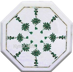 Green Stone Inlay Work Sofa Side Table Octagon Marble Coffee Table Top 12 Inches
