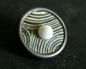 Antique Button Black Cream Design in Brass Centered w White Glass Ball PARIS Bac