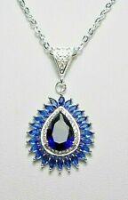 30mm pendant, sapphire-blue glass  - 18'' chain