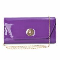 Purple Faux Patent Leather Crossbody Clutch Bag Women Wallet Fashion Handbag
