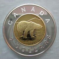 2004 CANADA TOONIE PROOF SILVER WITH GOLD PLATE TWO DOLLAR HEAVY CAMEO COIN