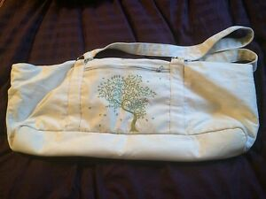 Yoga Mat Tote Bag Large Duffel White Green Tree Exercise Pilates Workout Fitness