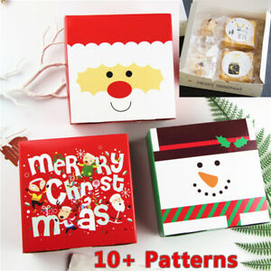 10-50PCS Christmas Gift Boxes Party Favours Sweet Biscuit Candy Treat Paper Pack