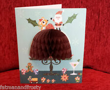 POP UP 3D cartolina Di Natale Natale Plum Pudding GLITTER NATALE DECORAZIONE CARTA