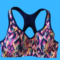 M&S Extra High Impact Sports Bra   Pink/Blue   Underwired Support & Padded   36B