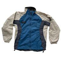 Columbia Womens Rain Windbreaker Packable Jacket Blue Beige Size S Small Vintage