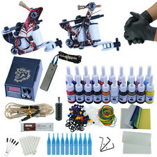 Complete Beginner Tattoo Machine Kit 2 Liner and Shader Gun 20 Color Inks Powder