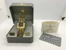 NOS 1980s Croton 23k Gold Plated Mens Watch 305005yblk w/ Original Box & Papers