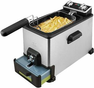 Kalorik 4.2 Quart Deep Fryer With Oil Filtration XL, Stainless Steel Refurbished