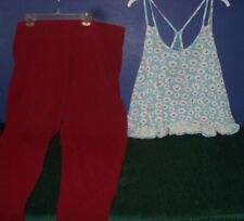 Women's Blue Cami Top  w Flowers sz XL -Rue 21 & Burgundy Knit Slacks sz XL Cato