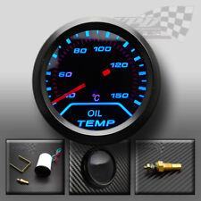 "Temperatura de aceite indicador azul LED Ahumado Esfera 2""/52 mm 12 V Ajuste Universal"