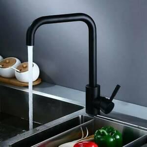 Black Modern Kitchen Sink Mixer Taps Swivel Spout Single Lever Tap Mono Faucet