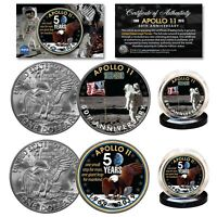 APOLLO 11 50th Anniversary Man on Moon Genuine Eisenhower Dollar NASA 2-Coin Set