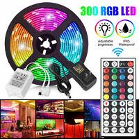 RGB 5M 16.4ft Waterproof 3528 SMD 300 LED Flexible Light Strip 12V+44 Key Remote