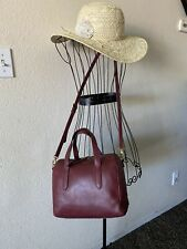 PRE-LOVED Fossil Sidney Leather Satchel in Cabernet