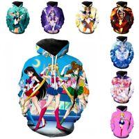 Unisex Adult Sailor Moon Hoodie Anime Cartoon Cosplay Outwear Jacket