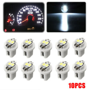 10x White T5 B8.5D 5050 2LED Car Dash Wedge Gauge Instrument Side Lights Bulbs