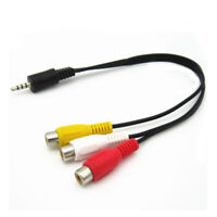 3.5mm Mini AV Male to 3RCA Female M/F Audio Video Cable Stereo Jack Adapter Cord