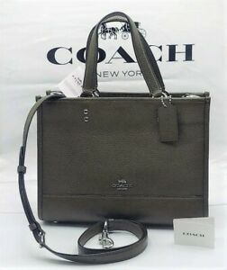 ⭐ NWT COACH DEMPSEY CARRYALL 1959 Pebbled Leather In SV/Cargo Green