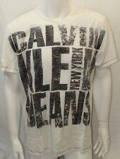 Calvin Klein Men's T-shirt Crew Neck S-Sleeve Color White Medium New Print NWOT