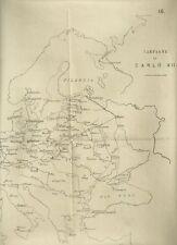 Tavola Ottocentesca per Studio Campagne di Carlo XII Re di Svezia 1850