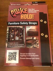 "Quake Hold Furniture Strap Kit #4160 Black consists 2 x 15"" straps & screws"