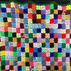 "Vintage Multicolor Crochet Granny Square ""Roseanne"" Afghan Blanket 12+COLR 58x56"