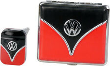 VW VOLKSWAGEN RETRO STYLE GIFT SET CIGARETTE CASE & LIGHTER RED * NEW in BOX *