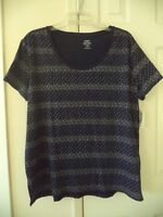 Old Navy Cotton Navy Blue Calico Floral Print Scoop T-shirt Knit Top 12 14 Large
