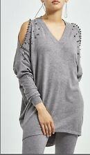 Voyelles Grey Silver Studded Cold Shoulder Co-Ord Set