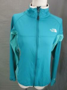 THE NORTH FACE SIZE M WOMENS BLUE ATHLETIC FULL ZIP SOFTSHELL JACKET T530
