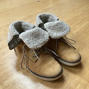 Timberland Earthkeepers Deering Leather Ankle Chukka Boots UK 5 teddyFold Down