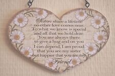 Wall Plaque Daisy Heart Sister My Best Friend Sign 19cm Birthday Gift Sg1592