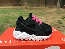 New Baby,Infant Nike Huarache Run (TD) Athletic Shoes Black/White-Pink Sz 2C