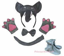 3D Gray Elephant Halloween Headband Bow Tail Paw Shoes Kids School Party Costume