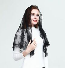 Church Head Veil Elegant Catholic Funeral Mantilla Head Cover Lace Long Tulle