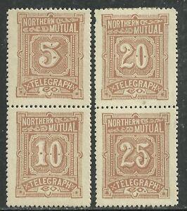 U.S. Revenue Telegraph stamps scott 11t1/11t4 - Northern Mutal Telegraph mng 5x