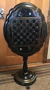 Victorian Tilt Top Papier Mache Chess Table Circa 1870,s Beautiful - Very Rare