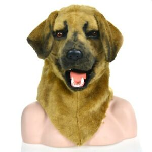 Yellow Dog Head Mascot Costume Can Move Mouth Head Suit Halloween Outfit Cosplay