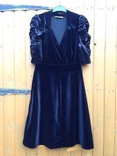 Oasis Black Velvet doublebreast Goth Fit Flare Vestito Arricciato Look Vintage S 8 10